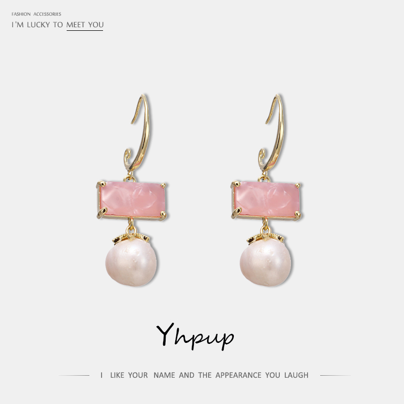 Yhpup New Trendy Boho Pink Resin Crystal Dangle Earrings Natural Pearls S925 Copper Earrings for Girl Female Party Accessories