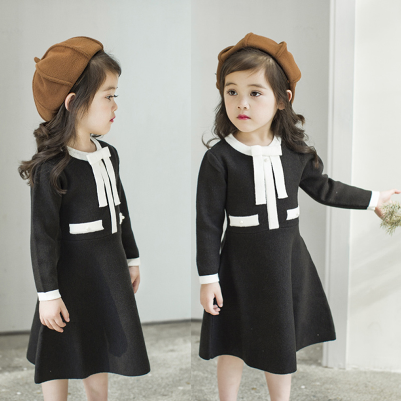 Autumn Winter Kids Girls Knitted Dress With Bows Long Sleeve Kids Princess Dresses For Girls Cotton Sweater Dress autumn winter female long wool knitted dresses turtleneck slim lady accept waist package hip pullovers sweater dress for women