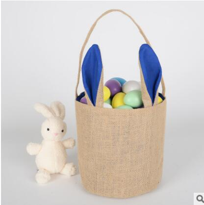 Easter Bag Easter Bunny Tote Bag Easter Bunny Basket Candy Gift Burlap Jute Bags Birthday Party