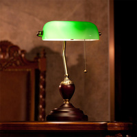 Hot Sale Classic Style Bank 3W LED Table Lamp Led E27 Lamp Green Lampshade