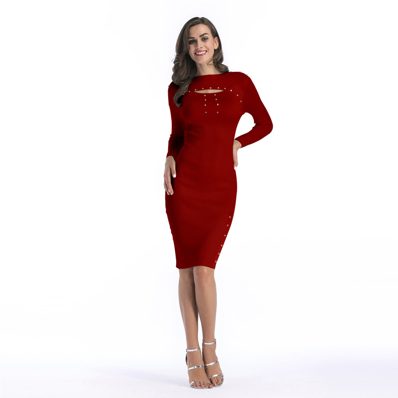 New Europe Autumn Winter Womens Bag Hip Bodycon Long Sleeve Knitted Pencil Dress Rivet BFD5651 europe s long twelfth century