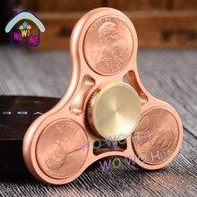 ใหม่ที่มีสีสันสร้างสรรค์โลหะสอง-s Pinnerอยู่ไม่สุขของเล่นทองแดงEDCมือปั่นสำหรับออทิสติกหมุนเวลายาวต่อต้านความเครียดของเล่น