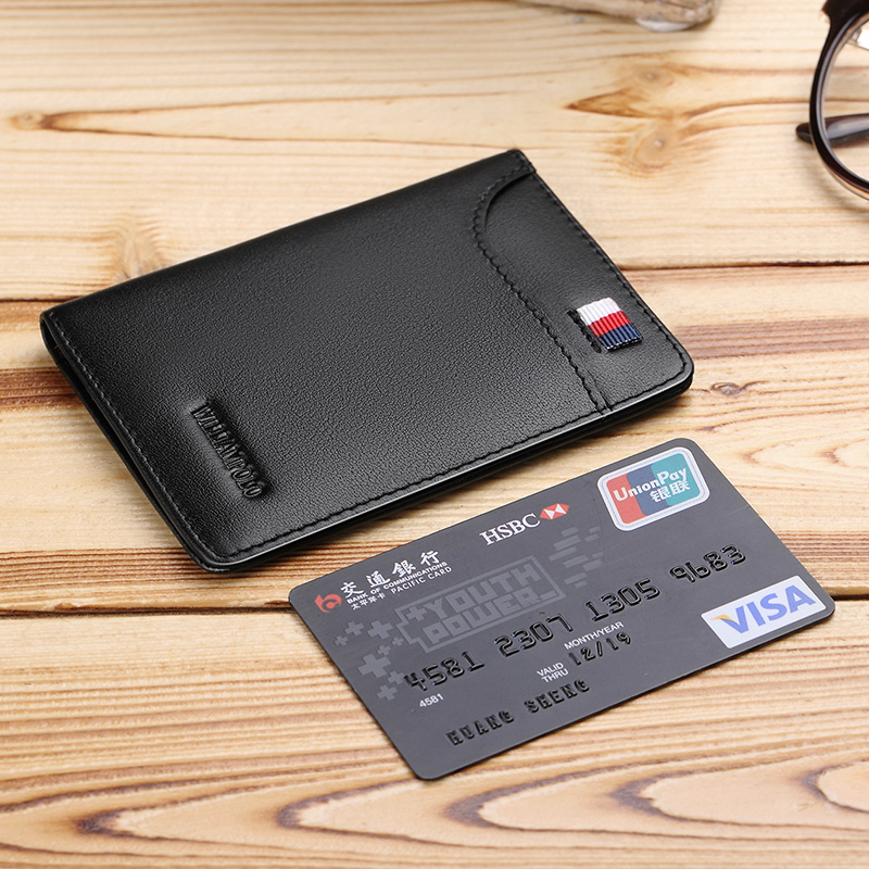 WILLIAMPOLO Genuine Leather Ultra Thin Slim Short Wallet Men Small Solid Wallet Simple Mini Card Holder Purse Casual Fashion 296