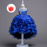 Crianças de Casamento Da Princesa Vestido de Noite de Lantejoulas de Ouro Floral Applique Cinza Verde Menta Roxo Azul Royal Pageant Vestidos De Baile para Meninas