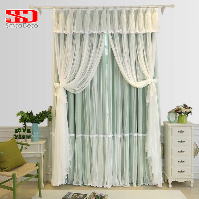 Korean Solid Lace Voile+Cloth Curtains For Children Baby Bedroom Pink Cream  Blackout Drapes Tassels