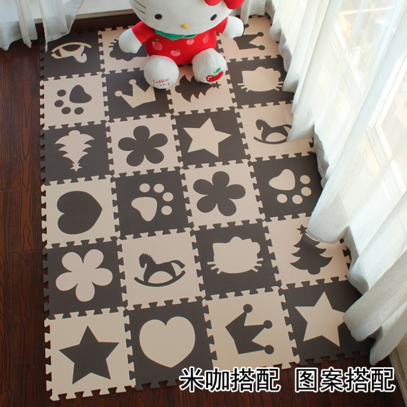 EVA Marjinaa Free Shipping Pluse Mat 10 Pcs Beige Coffee FOAM MATS Exercise GYM Puzzle Soft Tile Floor Kids Play Room