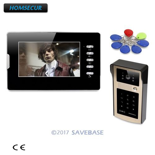 HOMSECUR 7inch Hands-free Video Door Entry Security Intercom with Keyfobs Password Keypad