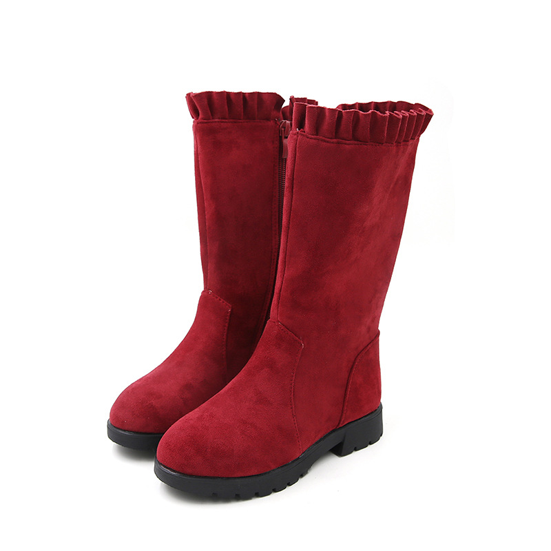 JGSHOWKITO Fashion Brand Girls Boots Winter Princess Kids Boots Warm Cotton With Ruffles Chic Children Shoes Flouncing All-match