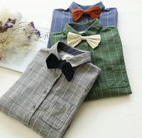 Preppy styl Literacki odpinany kratę krawat łuk z długim rękawem koszula bluzka mori dziewczyna 2016 jesień