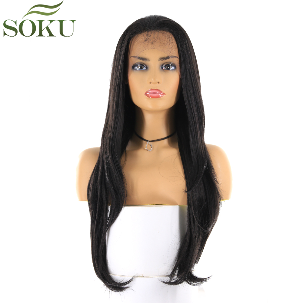 SOKU Synthetic Lace Front Wigs Free Part Straight 13*4 Lace Front Natural Black Color Wigs Heat Resistant Fiber Wig For Women