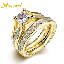 Ajojewel Square Zircon Stainless Steel Rings For Women Set Stone Titanium Jewelry Golden charm stainless steel rings fashion golden