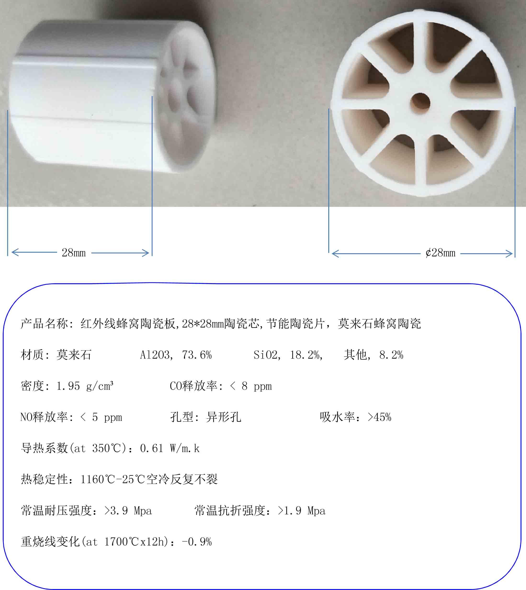 Infrared honeycomb ceramic plate 28 28mm ceramic core energy saving ceramic plate mullite honeycomb ceramic