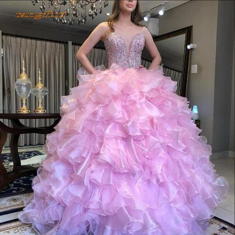 Ruffles Ball Gown Quinceanera Dresses Crytsals Beaded Sweet 16 Organza Party Prom Quinceanera Gown vestidos de 15 anos 2019 New