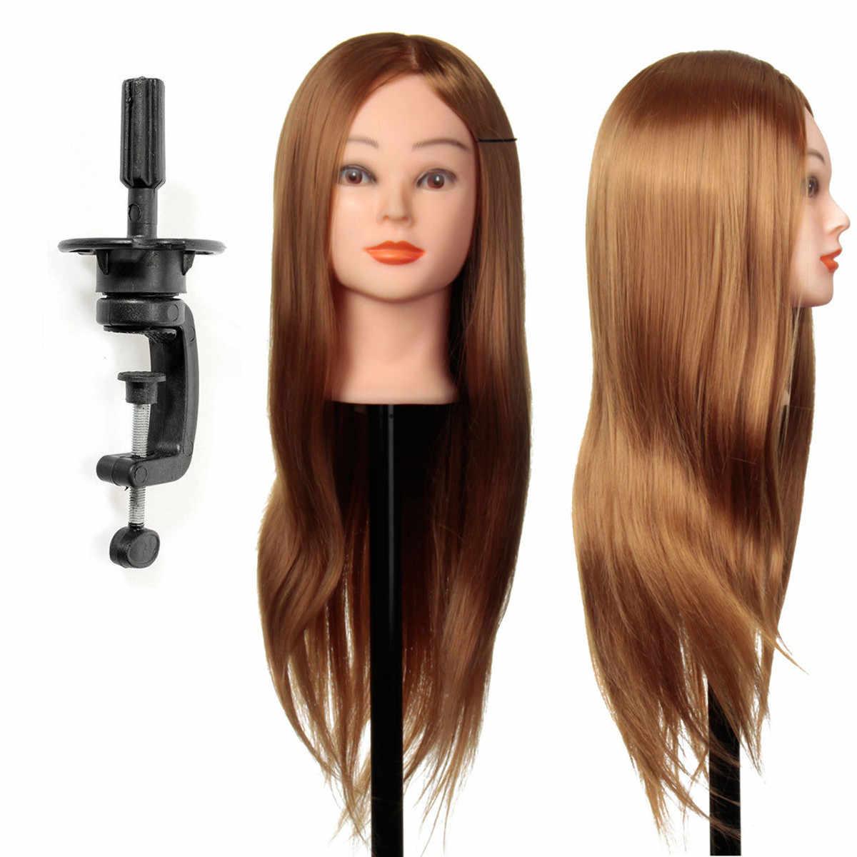 24 inç 30% Gerçek Doğal Saç Eğitim Manken Kafa Saç Modelleri Profesyonel Uygulama Için Standı Tutucu Ile Peruk Kafa Kadın