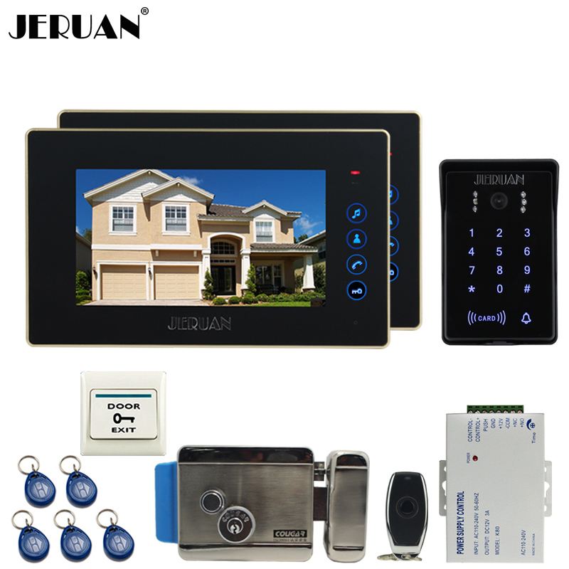 JERUAN 7 inch video doorphone intercom system kit 2 monitor waterproof touch key password keypad camera Electric control lock jeruan 8 inch lcd video doorphone recording intercom system kit new rfid waterproof touch key password keypad camera 8g sd card