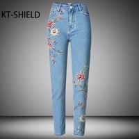Pantalones Vaqueros Bordados de Flores de primavera las mujeres de cintura Alta de Algodón Mujeres Delgadas Lápiz Pantalones de Mezclilla Azul Casual Marca Moda femme Jeggings