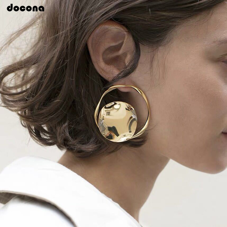 docona Punk Gold Hollow Circle Drop Dangle Earring for Women Abstract Geometric Pendant Earrings Party Jewelry Brincos F12104
