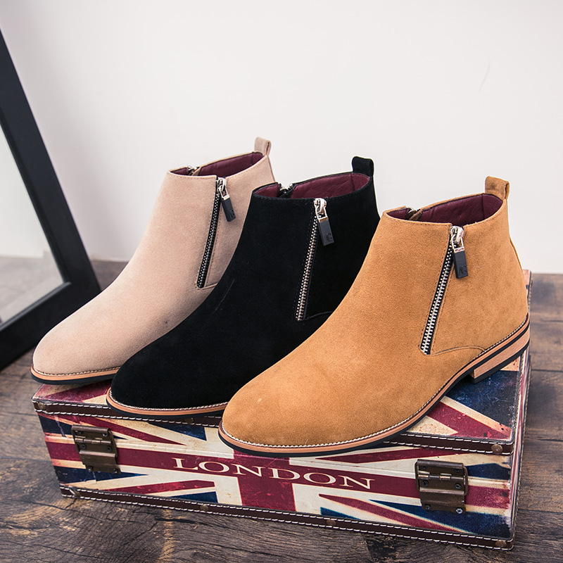 Chelsea Cow Suede Boots Men Shoes Formal High Top Brands Ankle Work Dress Male  Shoes Low Heel Oxfords Botas Masculino Motorcycle on Aliexpress.com  e8df2a39c937