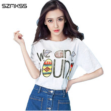 Women T Shirt Brand 2017 Fashion Women's Summer T-Shirts Printed Tee Lovely Short Sleeve Tops O-neck Slim Lady Basic Female Tops