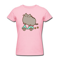 Pusheen Cat Scooter T-shirt Ladies T Shirt 100% Cotton Cool Top Short Sleeve O-neck Printing Tees