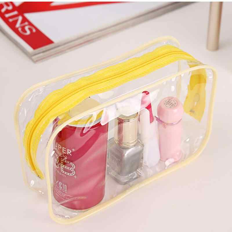 Yellow Blue Pink PVC Waterproof Cosmetic Bag Women Make Up Bag transparent cosmetic bag