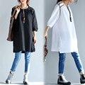Новая Коллекция Весна лето плюс размер свободные женские рубашки топы платья женские clothing три четверти рукав Негабаритных пуловер футболка