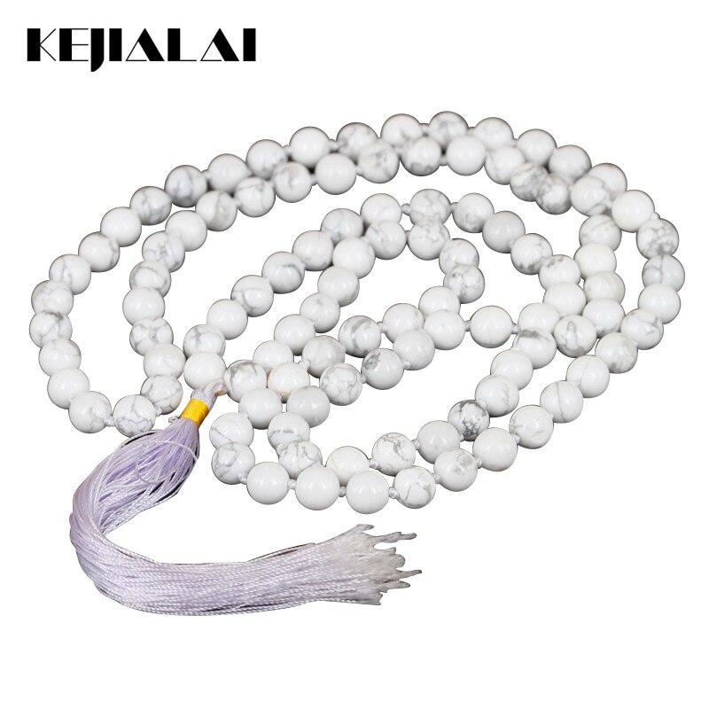 KEJIALAI Exclusive 108 White Howlite Stone Beads náhrdelník dlouhý střapec náhrdelník duchovní jóga šperky ženy Bohemian náhrdelník
