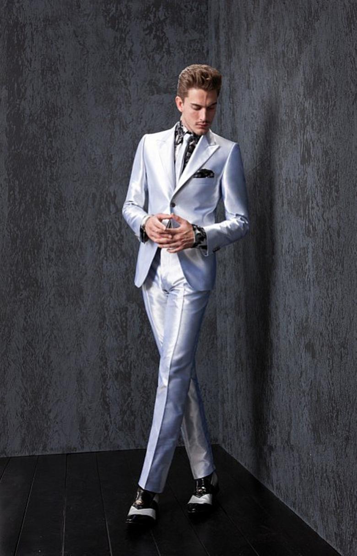 Light Grey Prom Suit 2018 Cheap Groom Tuxedos Best Man Groomsmen ...