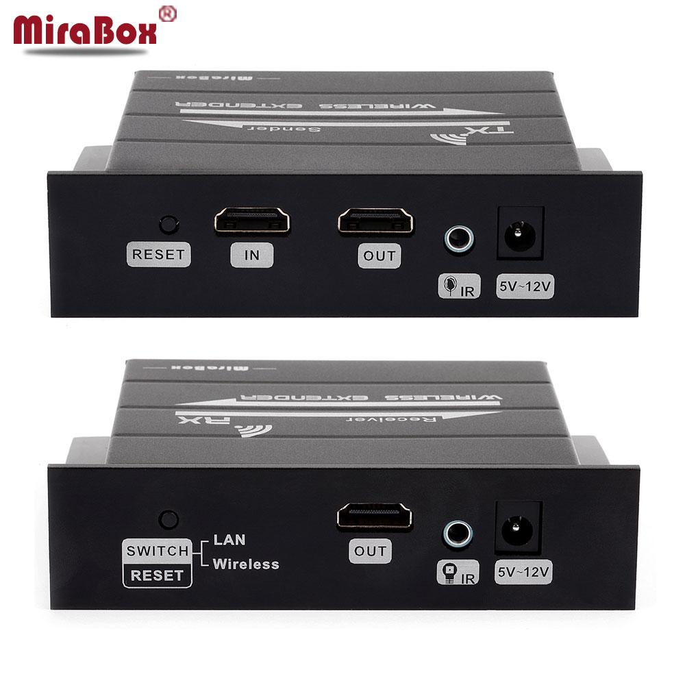 MiraBox Wireless HDMI Extender Support 1080p Full HD Wireless Extender 30m 98ft Lan Cable Extender 120m 393ft IR Dual Antenna link mi lm ex30 30m dual cat5e 6 cable hdmi extender w ir
