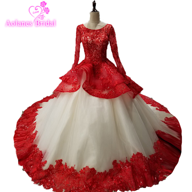 f033bf82e Long Prom Dress 2018 Puffy Ball Gown Ruffls Skirt Champagne And Red Long  Sleeves Arabic Beading Lace Sweet African Prom Dress