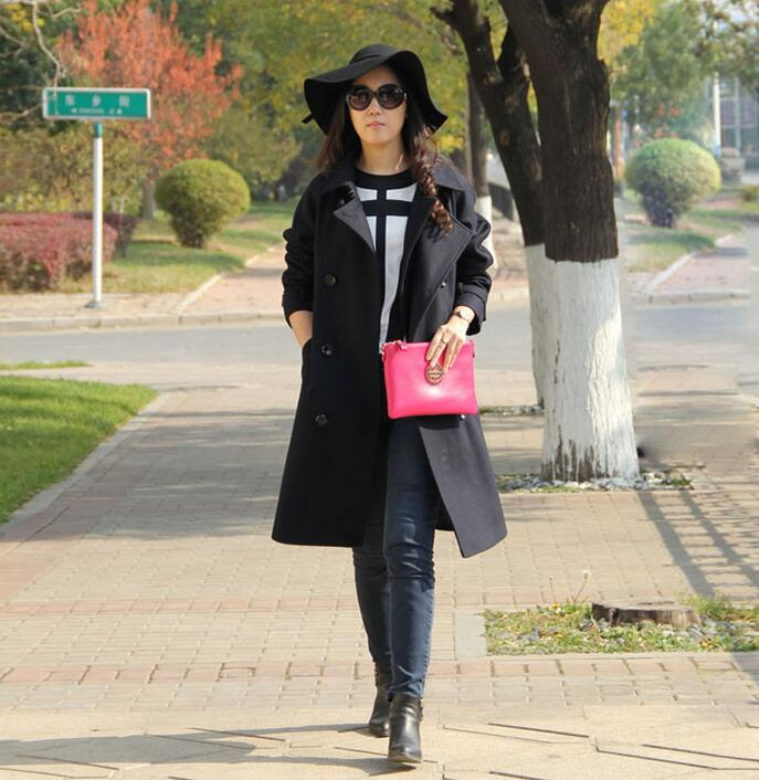 Black double collar double breasted cashmere coats women s wool coat womens winter jackets and coats