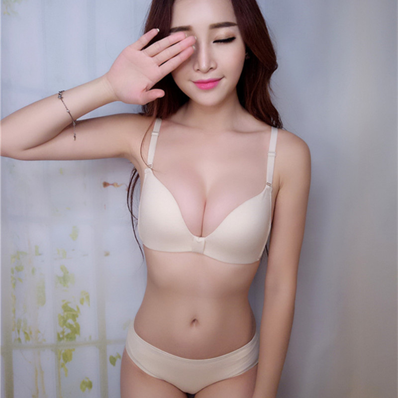 New no rims comfortable candy color underwear   bra   thin section lovely bow gather   Bra     set