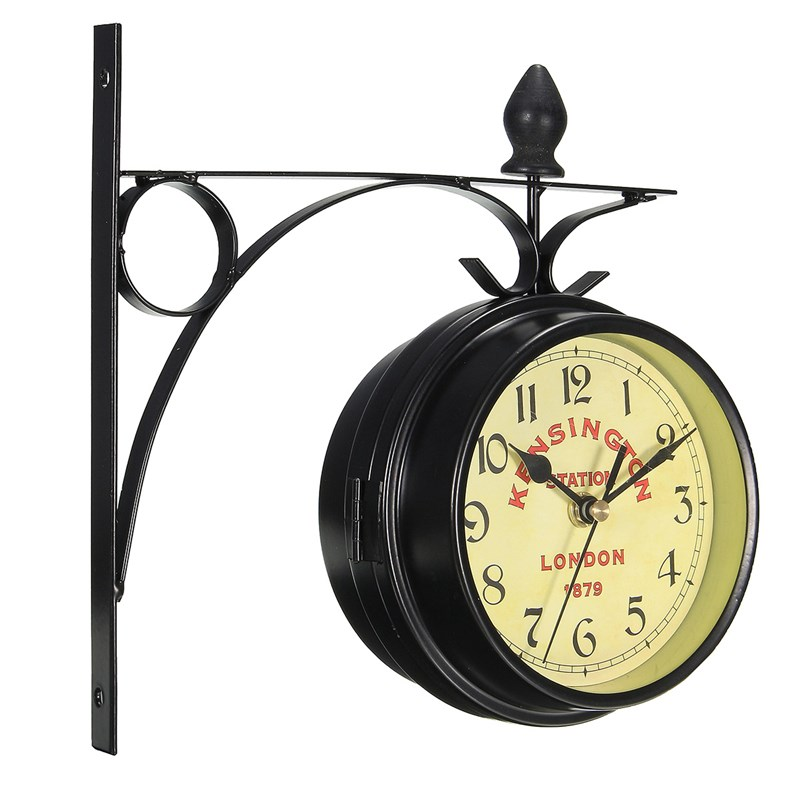 Double Sided Metal Wall Clock Hanging Metal Frame Antique