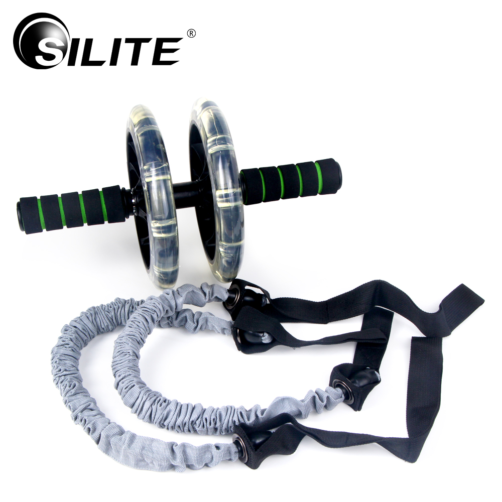 SILITE AB Roller Coaster with Resistance Bands AB Wheel Waist Abdominal Trainer Fitness Equipment Gym Workout Exercise Pull Rope 1 pc color random new baby kid cartoon animals fruits dimensional puzzles toy jigsaw puzzles educational toy for children gift