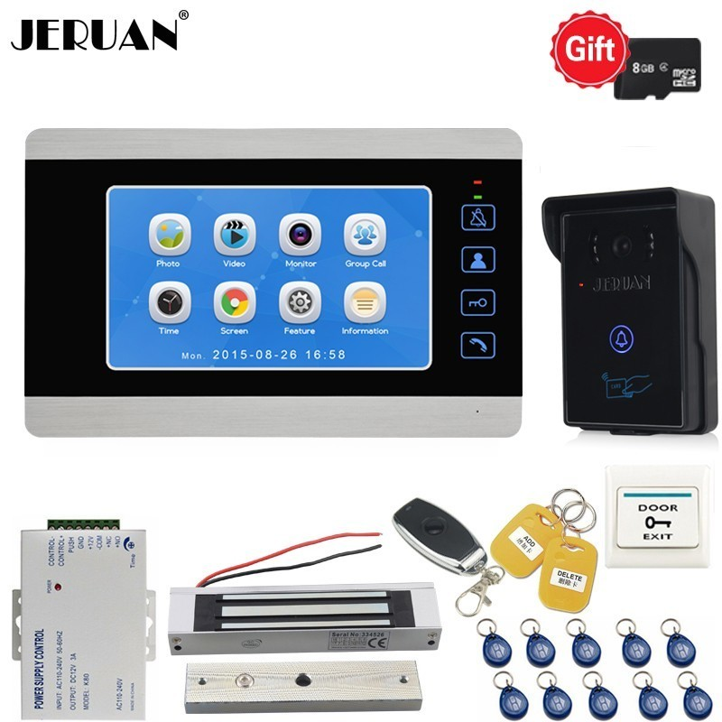 JERUAN 7 Inch Video Door phone Doorbell Voice/Video Recording Intercom System kit With Waterproof RFID Access IR Camera In StockJERUAN 7 Inch Video Door phone Doorbell Voice/Video Recording Intercom System kit With Waterproof RFID Access IR Camera In Stock