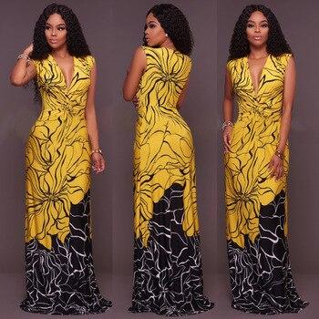 2018 Summer Sexy Elegant Fold V-Neck Club Party Dress Women Black Yellow Print Sleeveless Robe Femme Floor-Length Maxi Dress