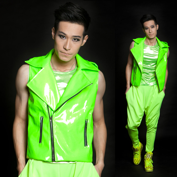 Hot New Ds Fashion Mens Brand Vests Stage Singer Clothing Male Neon Green Super Motorcycle Vest Men Clothing Costume Coat Xs-xxl