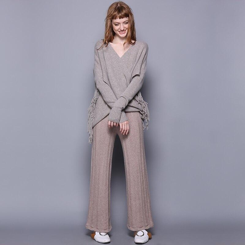 Jesień zima 100% czystego kaszmiru spodnie szerokie nogawki kobiet elastyczna wysoka talia spodnie z dzianiny z ciąg kobiet ciepłe luźne spodnie w Spodnie i spodnie capri od Odzież damska na  Grupa 2