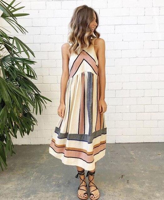 Новое поступление 2018 года для женщин Ретро летнее платье без рукавов Geo полосатый Танк Туника Платье до середины икры S-XXL