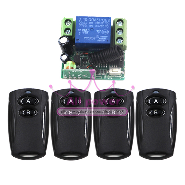 1 Receiver & 4Transmitter FR Wireless Remote Control switch system with 1CH DC12V Multifunctional wireless Module wireless pager system 433 92mhz wireless restaurant table buzzer with monitor and watch receiver 3 display 42 call button