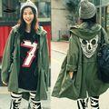 2015 Новый Осень женщин Mesh Череп Скелет Панк Военные Зеленый Стиль Куртки С Капюшоном Тонкая Талия