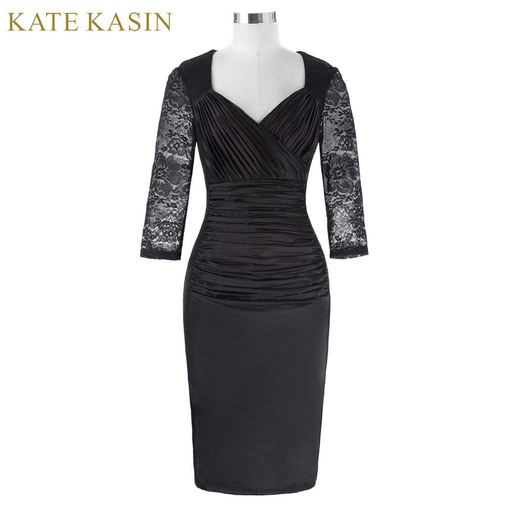 Kate kasin רקמת תחרה שחורה שמלות קוקטייל קצר 2017 v צוואר שמלות ערב לנשף קפלים robe de קוקטייל רשמי dress