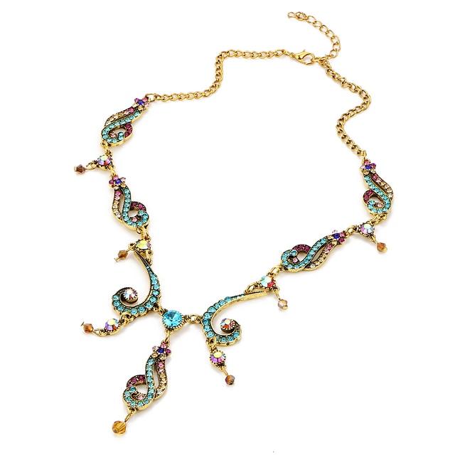 17 KM Vintage Cristallo Variopinto Della Nappa Del Fiore per Le Donne Nuovo Colore Oro Pendente Collare Maxi Monili Etnici