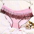 2016 Nova a puberdade meninas shorts briefs mulher calcinhas de fibra de bambu do carvão vegetal Modal duplo lace Emenda roupa interior da menina do adolescente