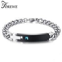 FOREWE Drop Shipping Blue Crystal Charm Bracelets Stainless Steel Bracelets For Women Men Jewelry Customized Named Bracelet