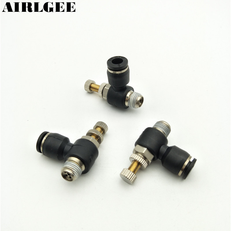 3PCS Push In Quick Connector Elbow Pneumatic Throttle valve Speed Control Regulating valve 6mm Tube to1/8 1/4 1/2 Male Thread 2 pcs lot 3 8 male thread to 8mm elbow pneumatic connector fittings discount 50