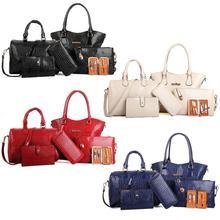 Luxury Leather 6 pieces/set Fashion Woman Composit Bag Large Capacity Handbag Shoulder Bag Crossbody Bag Card Bag Purse Wallet studded transparent 2 pieces crossbody bag set