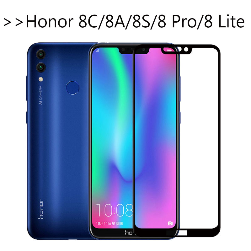 On Honor 8c For Huawei Honor 8A Tempered Glass Screen Protector Honer 8s 8 Lite 8a 8c A8 Light 8 C S A Protective Safety Film 3D