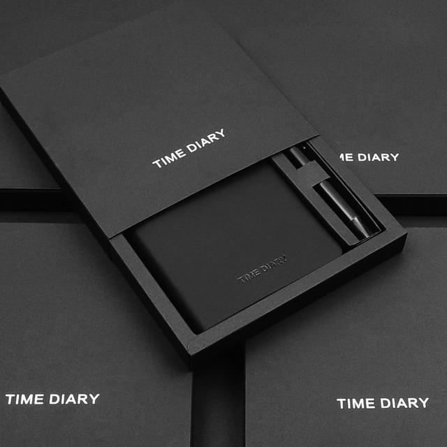 Cuaderno mágico negro A6 con bolígrafo, juego de mano, caja de regalo, Bloc de notas de piel sintética suave, pequeño libro de bolsillo cuadrado