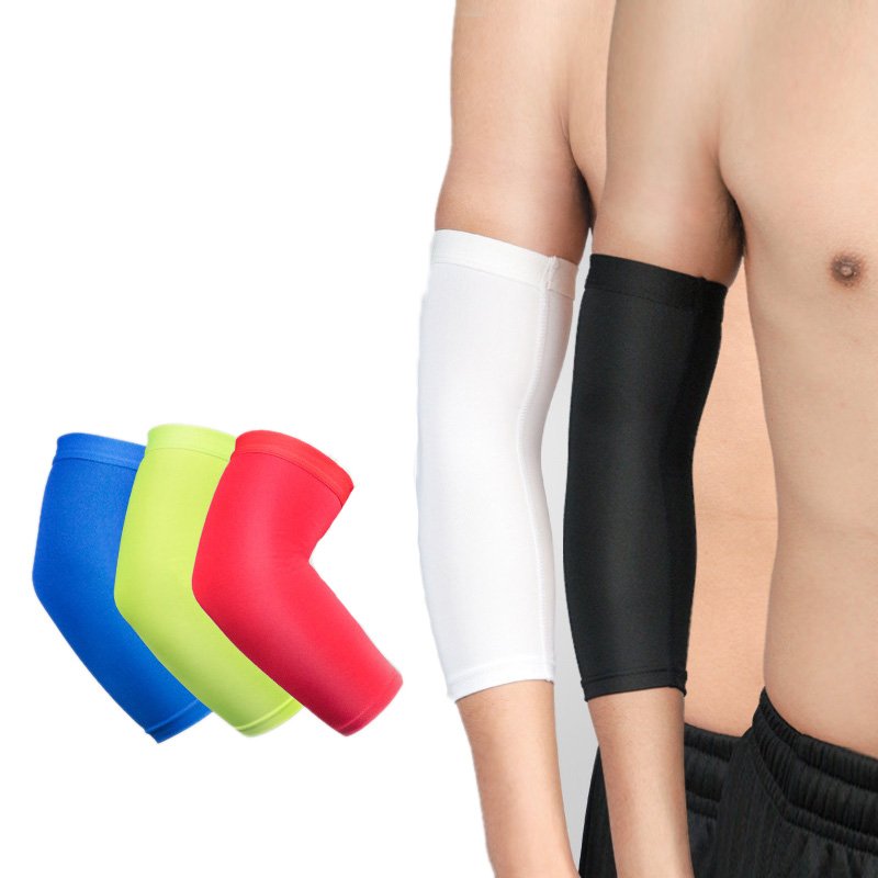 1pc Compression Arm Sleeves Elastic Breathable Anti-Slip Sports Elbow Brace Protector Basketball Tennis Cycling Arm Warmers